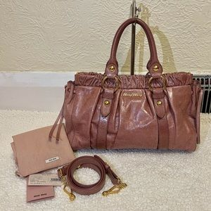 MIU MIU by prada vitello lux leather satchel